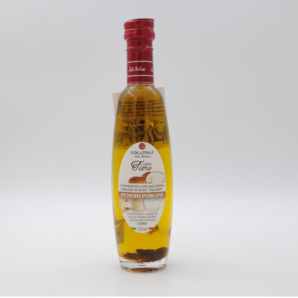 Bottiglia vetro fiore olio extra vergine d'oliva, funghi porcini 125ML
